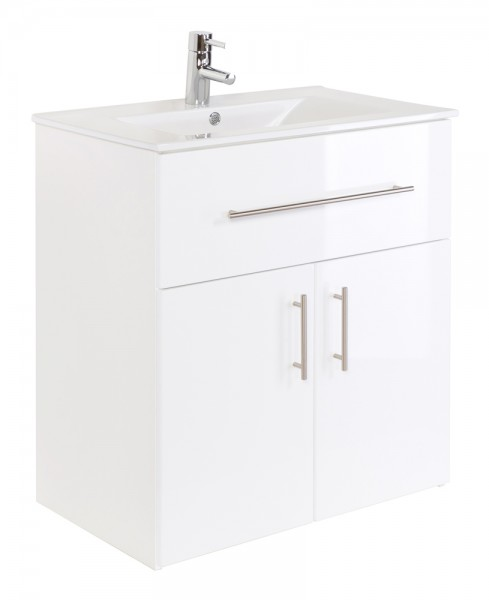 Badmöbel stehend mit Waschbecken und Unterschrank 75 cm weiß