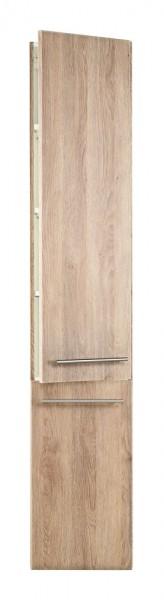 Hochschrank Bad mit Wäsche Klappe und Softclose Tür 180 cm hoch in hell