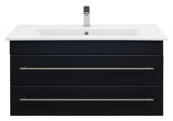 Waschbeckenunterschrank 80 cm schwarz Seidenglanz mit Waschbecken Venticello