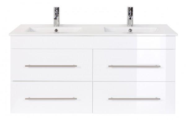 Bad Unterschrank in weiß Hochglanz mit einer Breite von 122 cm mit Doppelwaschbecken