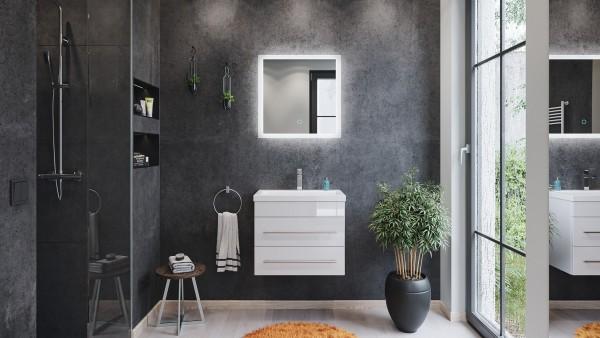 2 teiliges Badmöbelset in weiß Hochglanz mit LED Spiegel