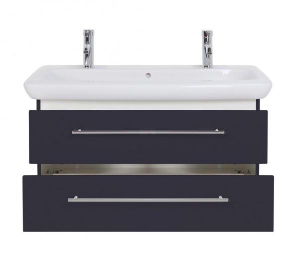 Design Waschtischunterschrank 100 cm anthrazit Seidenglanz mit Doppelwaschbecken Keramag It