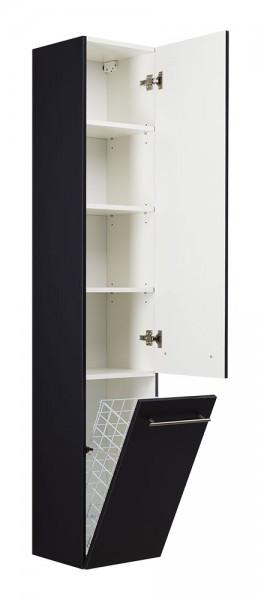 Bad Hochschrank schwarz Seidenglanz höhe 180cm mit Wäscheklappe