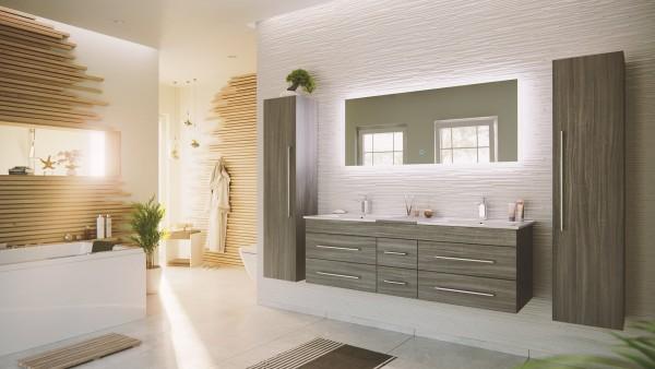 Badmöbelset silbereiche 4 teilig mit doppelwaschbecken
