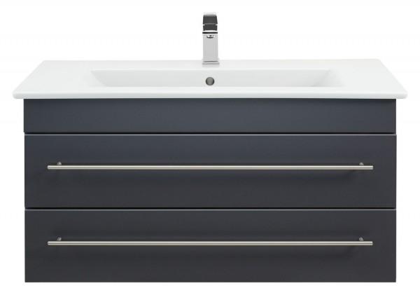 Badezimmer Unterschrank 100 cm breit in anthrazit seidenglanz mit Venticello Waschbecken