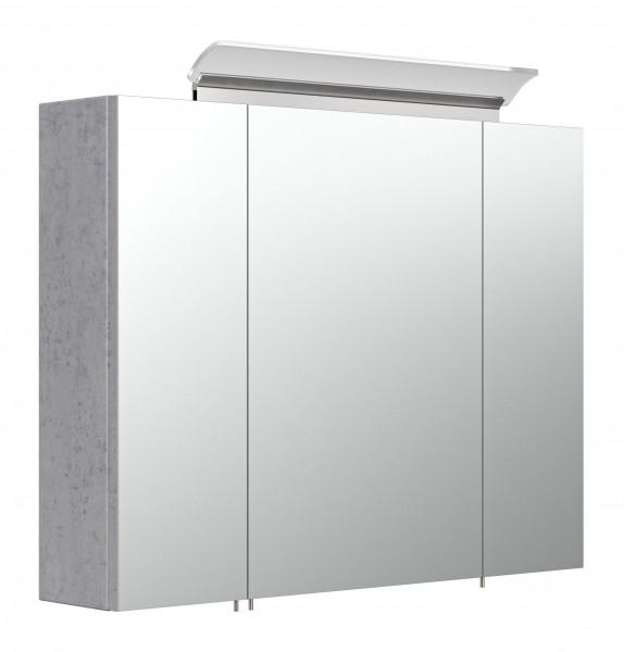 2 türiger Bad Spiegelschrank mit 2 Glasböden in beton 80 cm