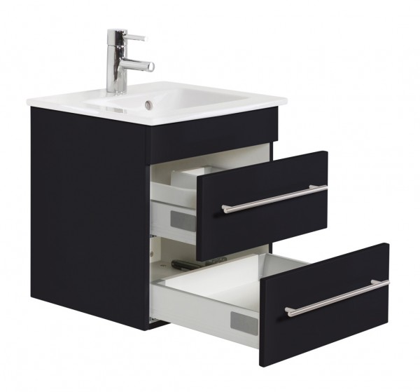 Waschbecken Villeroy und Boch mit Unterschrank 50 cm schwarz seidenglanz