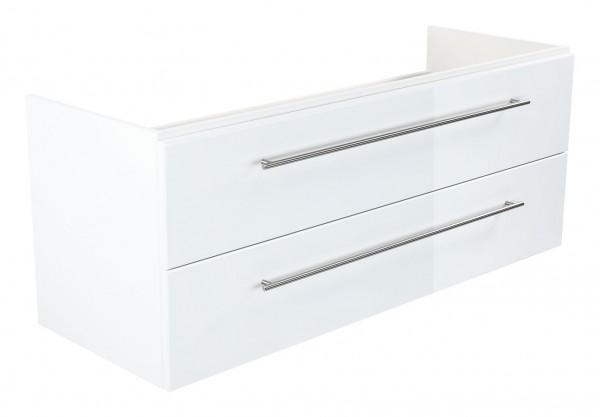 Bad Unterschrank 130 cm in Hochglanz weiß für Keramag MyDay Doppelwaschbecken