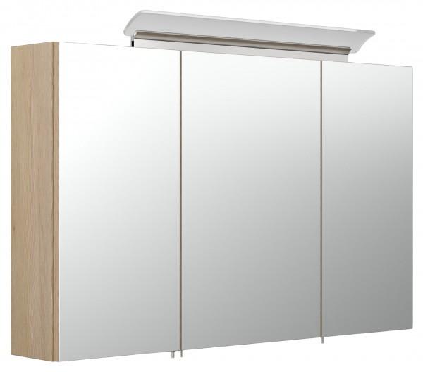Geräumiger Bad Spiegelschrank 100 cm eiche hell Seidenglanz