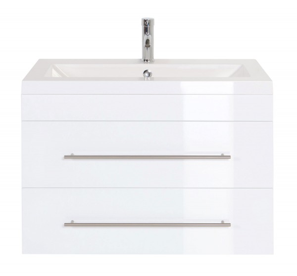 Waschbeckenunterschrank 85 cm Hochglanz weiß mit 2 Schubladen