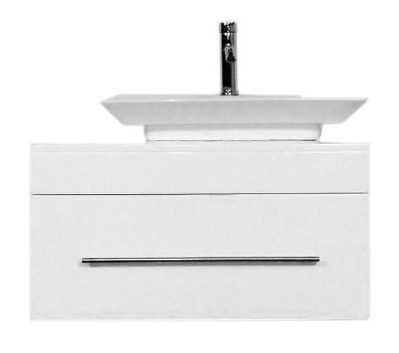 Keramik Aufsatzwaschbecken mit Unterschrank 80 cm Hochglanz weiß
