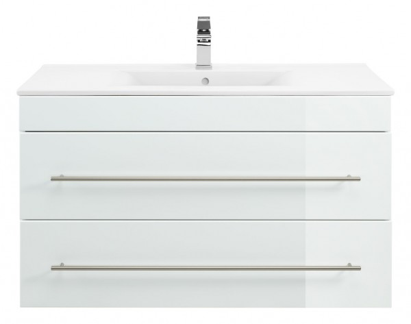 Waschbeckenunterschrank 100 cm in weiss Hochglanz mit Waschbecken