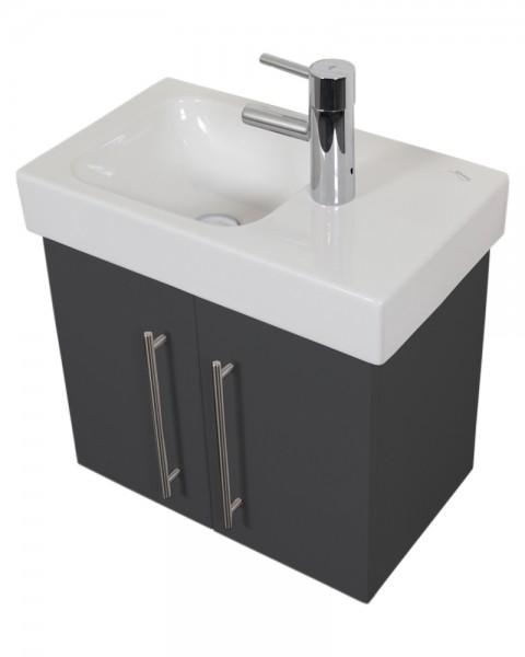Unterschrank Bad für Keramag Icon Waschbecken in anthrazit Seidenglanz 53 cm breit