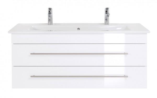 Unterschrank Bad Hochglanz weiß 120 cm breit für Venticello Doppelwaschtisch