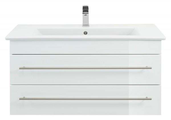 Waschbeckenunterschrank-100 cm weiß Hochglanz mit Waschbecken villeroy und boch