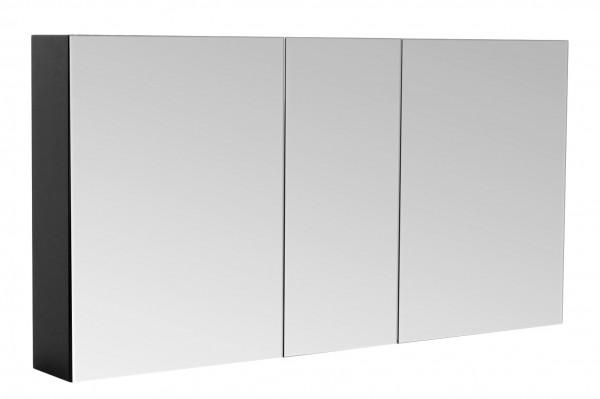 Bad Spiegelschrank 120 cm in schwarz seidenglanz mit 3 Spiegeltüren mit Softclose Türdämpfung
