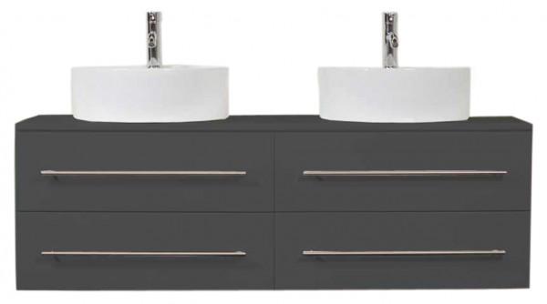 Unterschrank Badezimmer 144 cm anthrazit Seidenglanz mit 2 Aufsatzwaschbecken