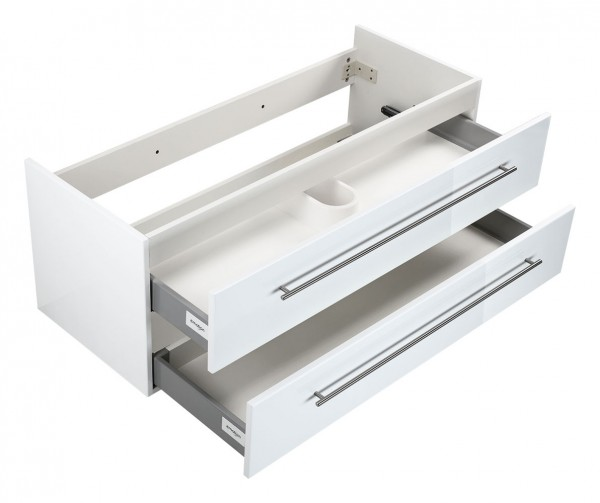Waschtischunterschrank für Keramag It Hochglanz weiß 100 cm für Doppelwaschtisch
