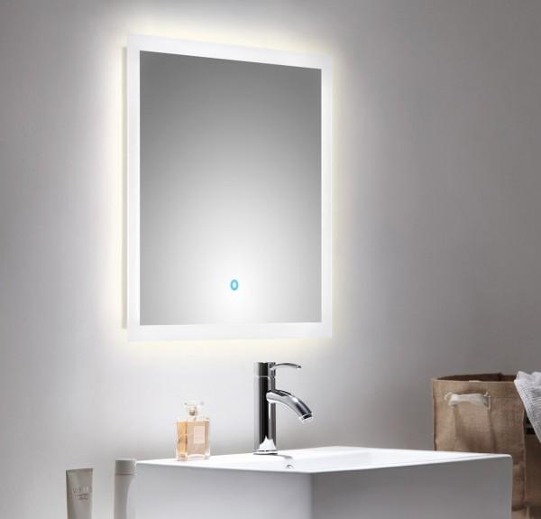 Hochwertiger Badspiegel mit LED Beleuchtung 60x60cm mit Touch Bedienung