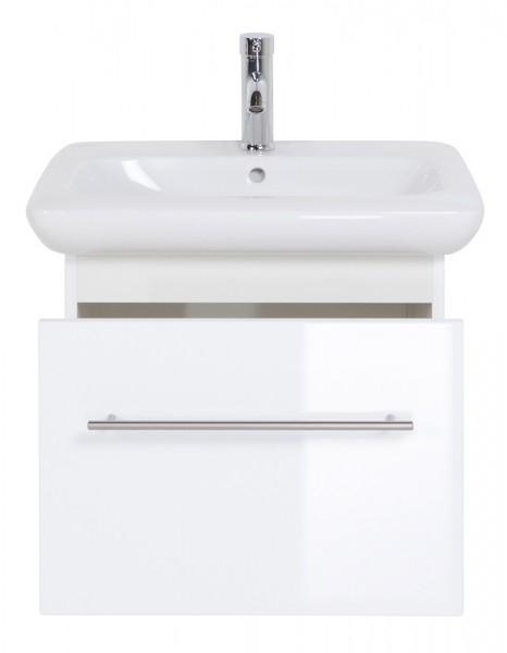 Design Bad Unterschrank 60 cm weiss Hochglanz mit Keramag It Waschbecken