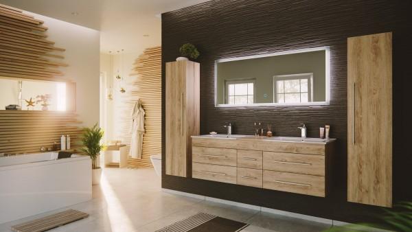 Badezimmer Set Roma xl eiche hell mit Doppel Waschbecken