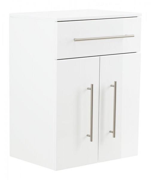 Badezimmer Highboard Hochglanz weiß mit 2 Türen und einer Schublade