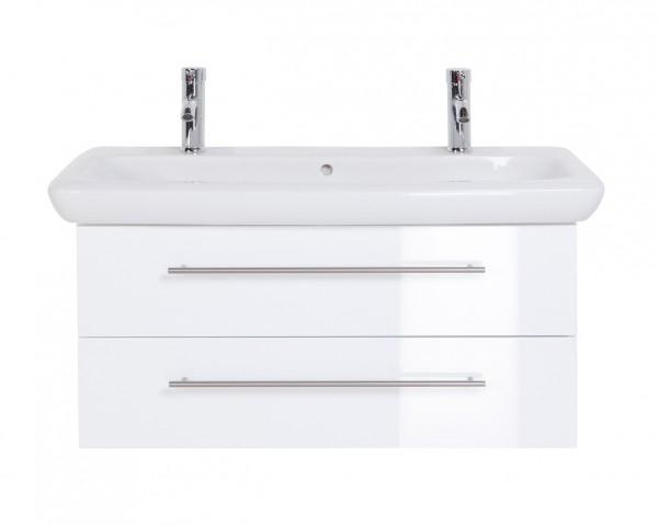 Waschtischunterschrank 100 cm Hochglanz weiß mit Keramag It Waschbecken