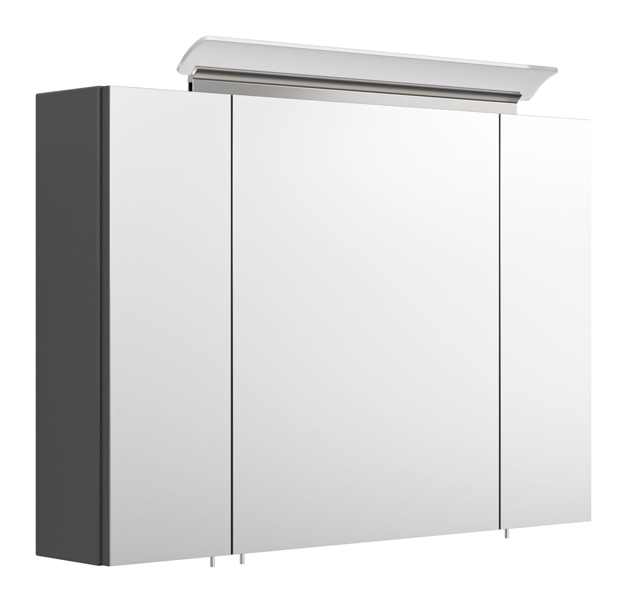 Badezimmer Spiegelschrank anthrazit mit Design LED Lampe 20 cm mit Glasböden