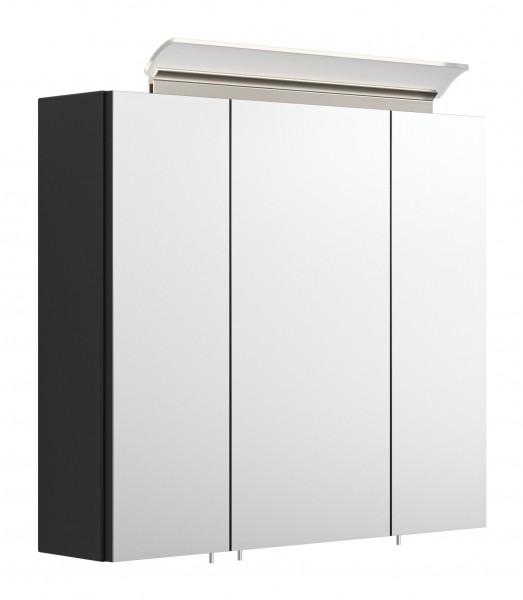 Spiegelschrank Bad 70 cm breit schwarz Seidenglanz